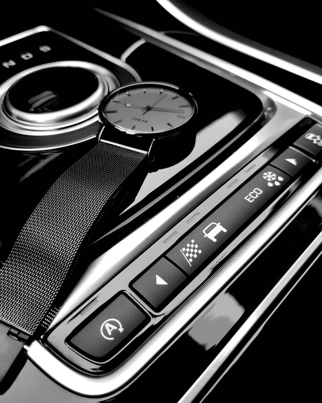BUREI Men's Fashion Minimalist Wrist Watch Analog Deep Gray Date with Black Mesh Band by BUREI (Image #4)