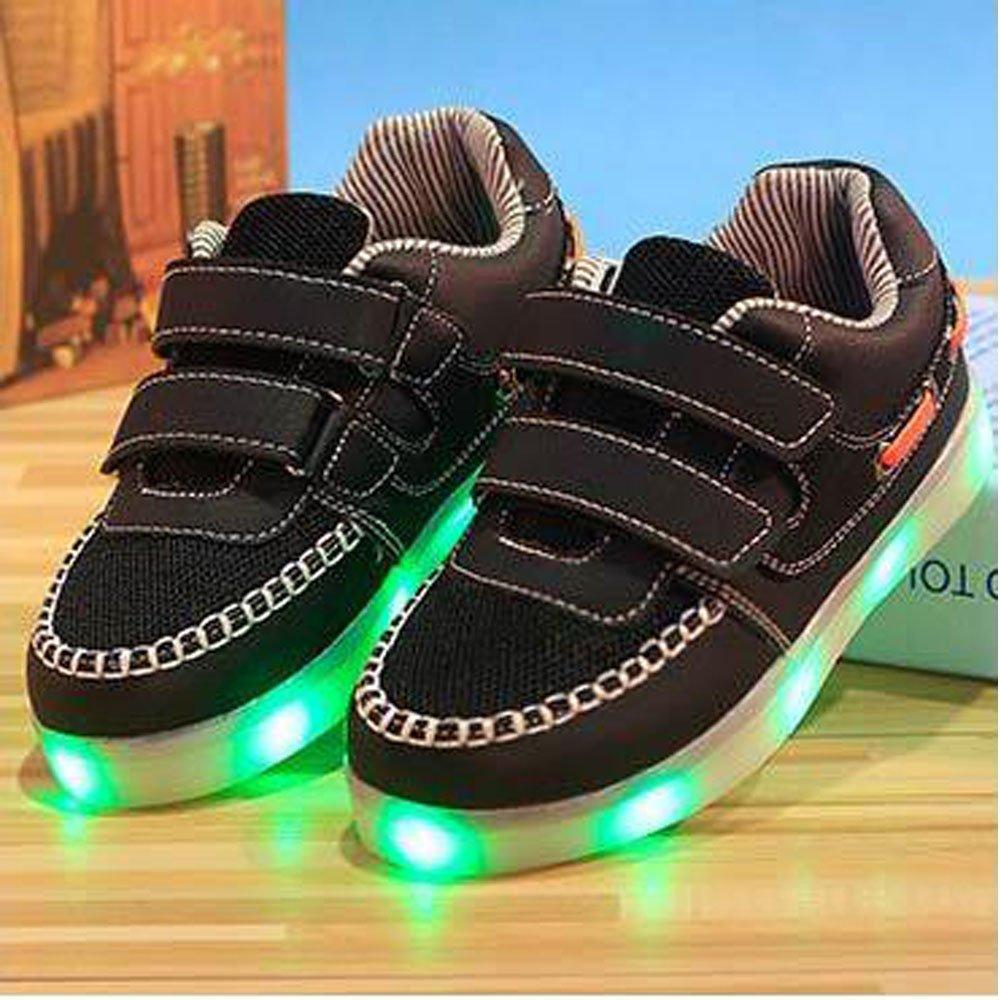 luckfugui Kids Boys Girls LED Light Breathable Flashing Sneakers Shoes netbk27