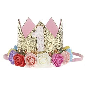 Bosoner Baby Princess Crown 2 Tiara Kids First Birthday Hat Sparkle Gold Flower Design