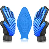 Pet Grooming Glove Cat Brush Hair Remover Dog Bath Brush Dog Brushes for Shedding Bath Buddy for Dogs Massage Glove for Horses / Lick Pad Dog Bath Distraction Device Perfect Match (1 Pair+lick Pad)