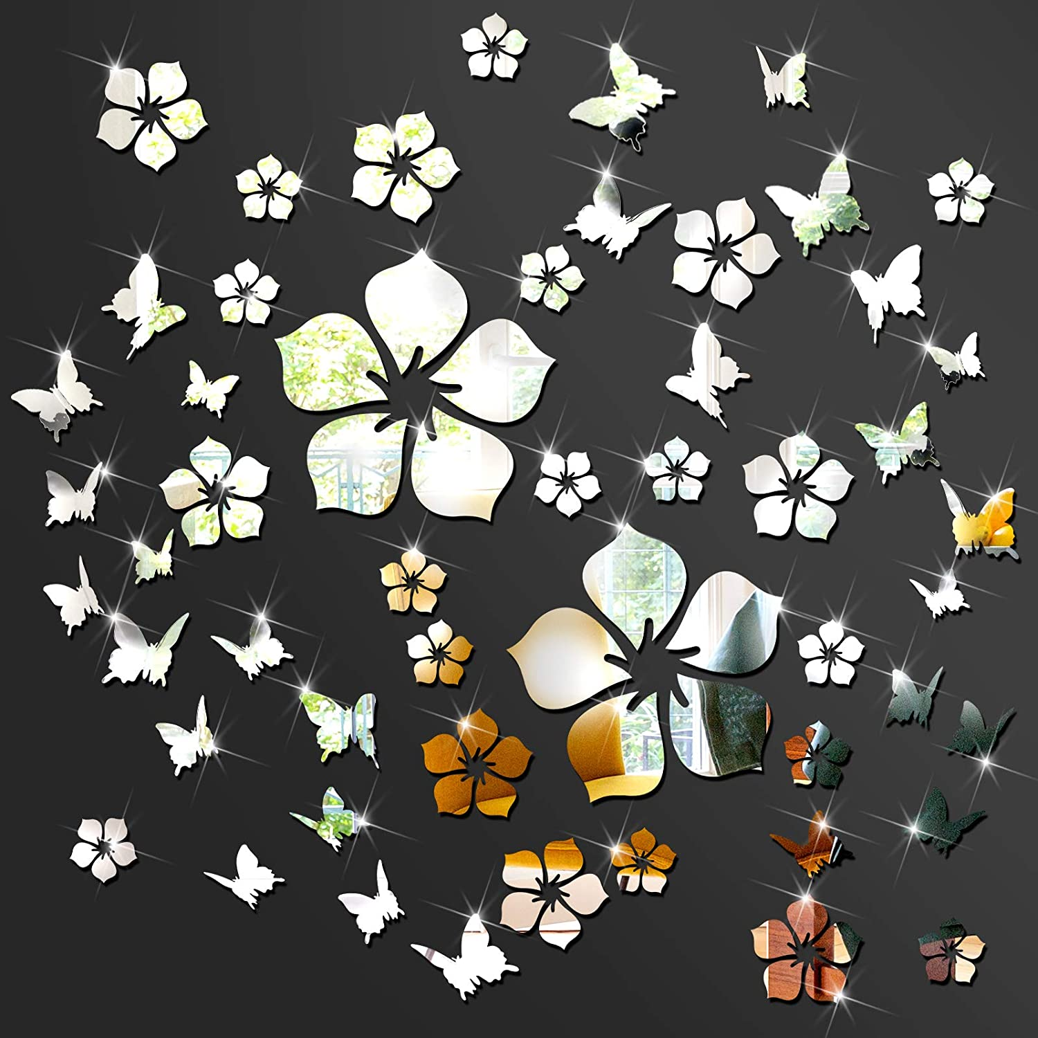 48 Pieces Acrylic Mirror Wall Sticker Decal Silver Flower DIY Wall Decoration Sticker Decal 3D Mirror Butterfly Wall Stickers for Home Living Room Bedroom Decor Home Decoration