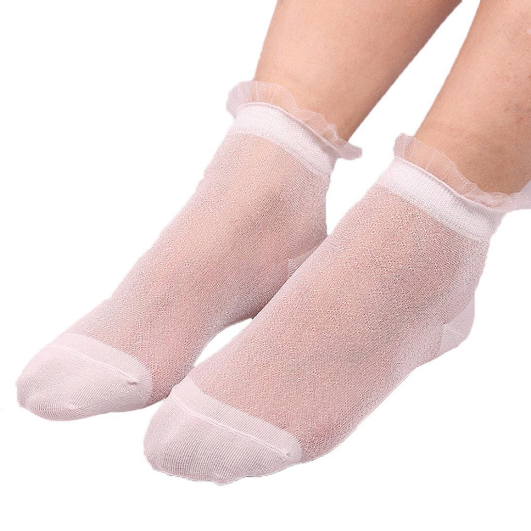 Amiley Hot Sale Summer Women Ladies Sheer Silky Glitter Transparent Short Stockings Ankle Socks