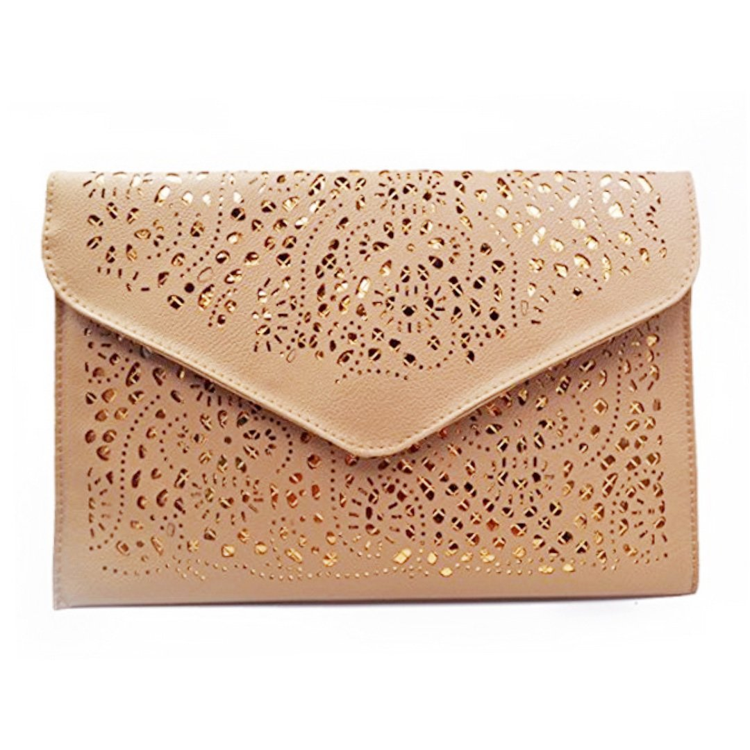 Mily Hollow Out Flower Envelop Clutch Chain Tote Shoulder Bag Handbag Beige by Mily (Image #3)