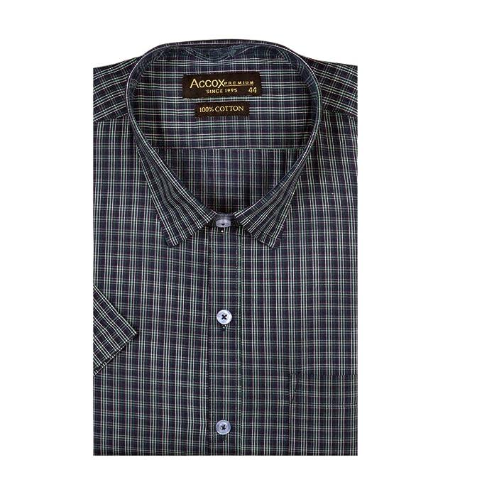 a3dfa23d217 ACCOX Men s Cotton Half Sleeves Formal Regular Fit Check Shirt (Green
