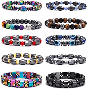 VALIJINA 10 Pieces Hematite Bracelet for Men Women Magnetic Therapy Bracelets Energy Reiki Healing Relief Bracelets Set Healthcare Weight Loss Pain Relief Bracelets