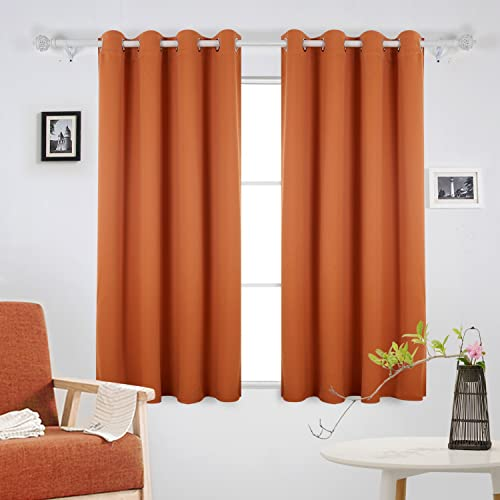 Deconovo Soft Solid/Plain Thermal Insulated Eyelet Blackout Curtains For Living  Room With Tie Backs