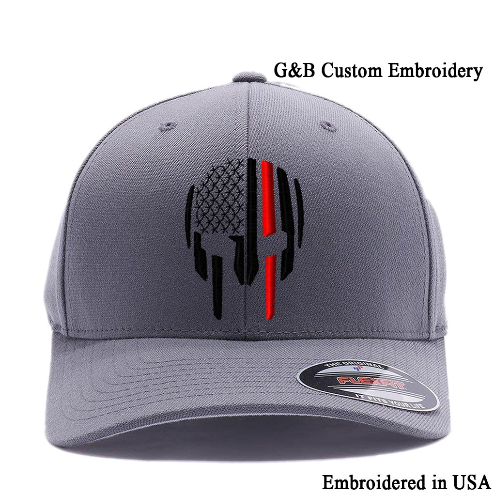 7ab91dfe737875 Thin RED LINE Spartan Helmet Cap. Embroidered. 6477 Flexfit (L/XL, Dark  Grey)
