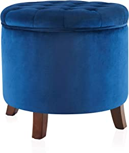 BELLEZE Nailhead Round Tufted Storage Ottoman Large Footrest Stool Coffee Table Lift Top Velvet, Navy Blue