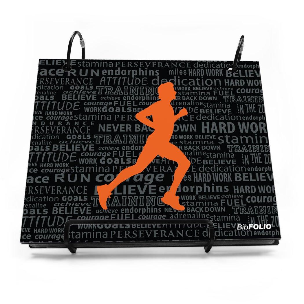 Gone For a Run BibFOLIO Race Bib Album | Bib Holder Running Inspiration Male | Black/Orange by Gone For a Run (Image #1)