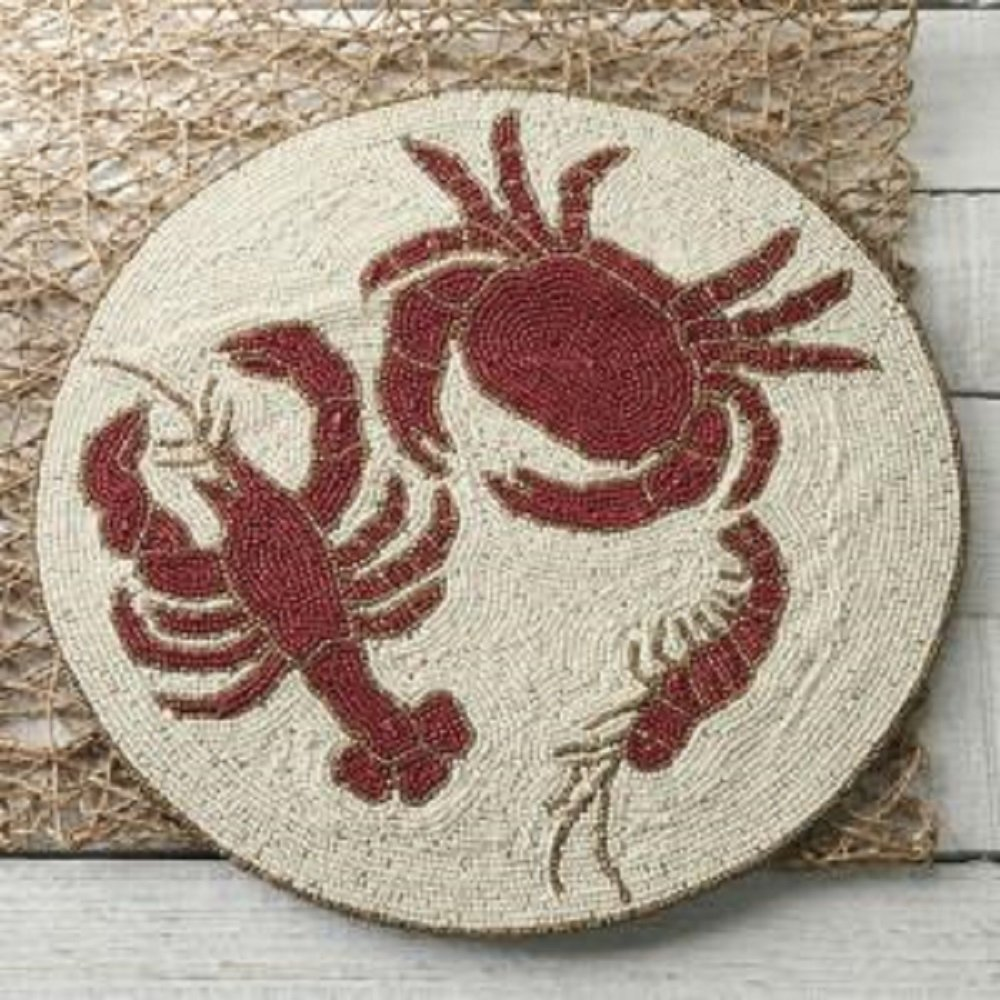 Decorative Beaded Lobster and Crab Placemat 14 Diameter.