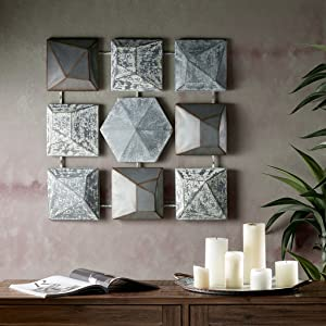 "INK+IVY Essex Wall Art - Metal Iron Tinplating Home Decor Modern Contemporary, Geometric Large Accent Living Room Furniture Accessory, 28""x28"", Grey"