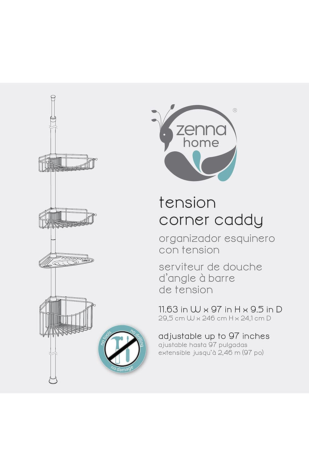 Amazon com  Zenna Home 2120BC  Tension Corner Pole Caddy  Satin Nickel   Home   Kitchen. Amazon com  Zenna Home 2120BC  Tension Corner Pole Caddy  Satin
