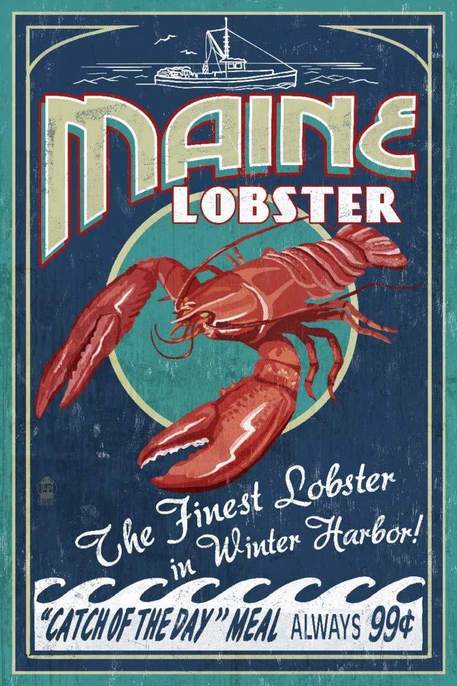 冬Haven、メイン州 – Lobster Vintage Sign 36 x 54 Giclee Print LANT-51418-36x54 36 x 54 Giclee Print  B017EA14VC