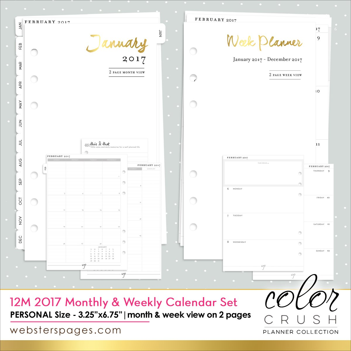 Webster's Pages Personal Size 2017 12-Month Week and Month Calendar (P1017)