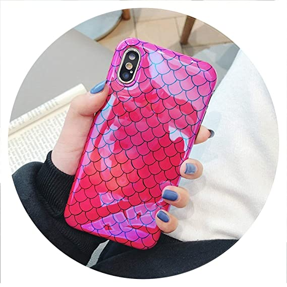 4a4f010a5f171a Luxury Blue Light Glossy Fish Scale Phone Case for iPhone X 10 Case Soft  Silicone Cover