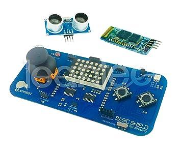 Kit Kiwibot Basic Shield + HC-SR04 + HC-06 para Arduino. Robotica