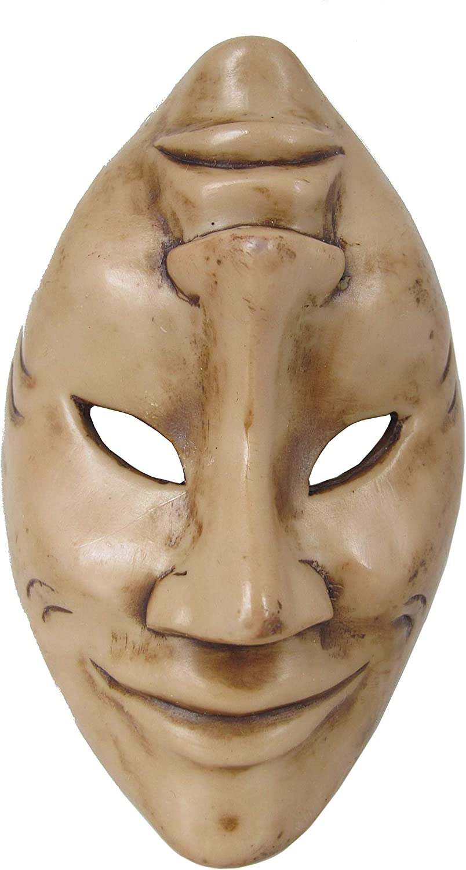 "Land of Simple Treasures Happy Sad Mask - Tragedy Comedy Masquerade Wall Decor Black Resin Small 6"" (Natural Brown)"