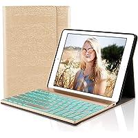 D DINGRICH Tastatur Hülle für iPad 2018 (6th Gen) - iPad 2017 (5th Gen) - iPad Pro 9.7 - iPad Air 2 & 1-7 Farben Hinterleuchtet- QWERTZ Tastatur- Magnetischen Schlaf/Wach- ipad 9.7 Tastatur Hülle…