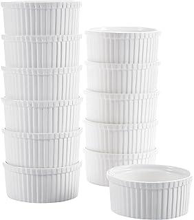 Malacasa Series Ramekin Ramekins Porcelain China Ceramic Cream Dishes, Ivory White, Set Of 12