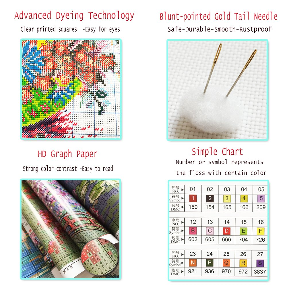 DIY Art Crafts /& Sewing Needlepoints Kit for Home Decor 32x24 Counted Cross Stitch Kit Stamped Cross Stitch Kits Cross-Stitching Patterns Seabed Animal World 14CT Pre-Printed Fabric