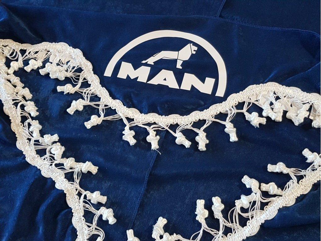 Lot de 3/Bleu Rideaux Blanc avec franges Taille universelle pour tous les mod/èles Camion Man TGX TGS TGA Accessoires D/écoration Tissu Peluche