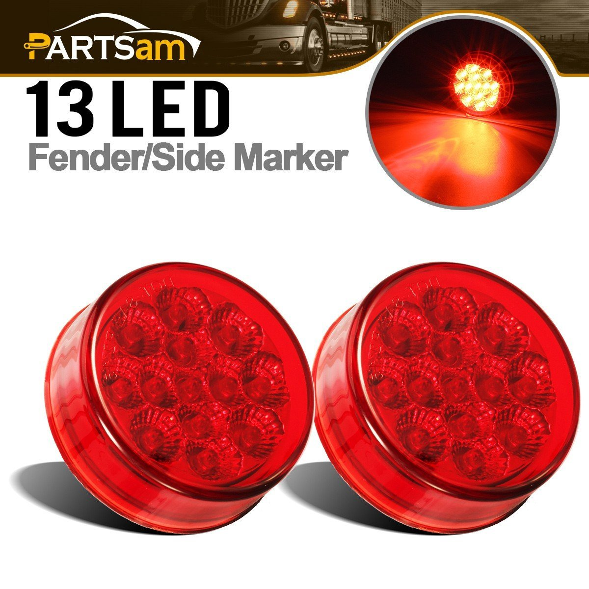 Partsam 2 Pcs 2.5'' Red Side indicator LED Marker Clearance Truck Light w/2 Standard Pin, Sealed Faceted 2.5 inch Round LED Trailer Truck Side Cab Marker Panel ID Light 13 Diodes w/Miro Reflectors by Partsam
