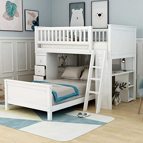Twin-Over-Twin Bunk Bed for Kids, Loft System Twin Bed Set with Desks, Drawers and Ladder, Crisp White