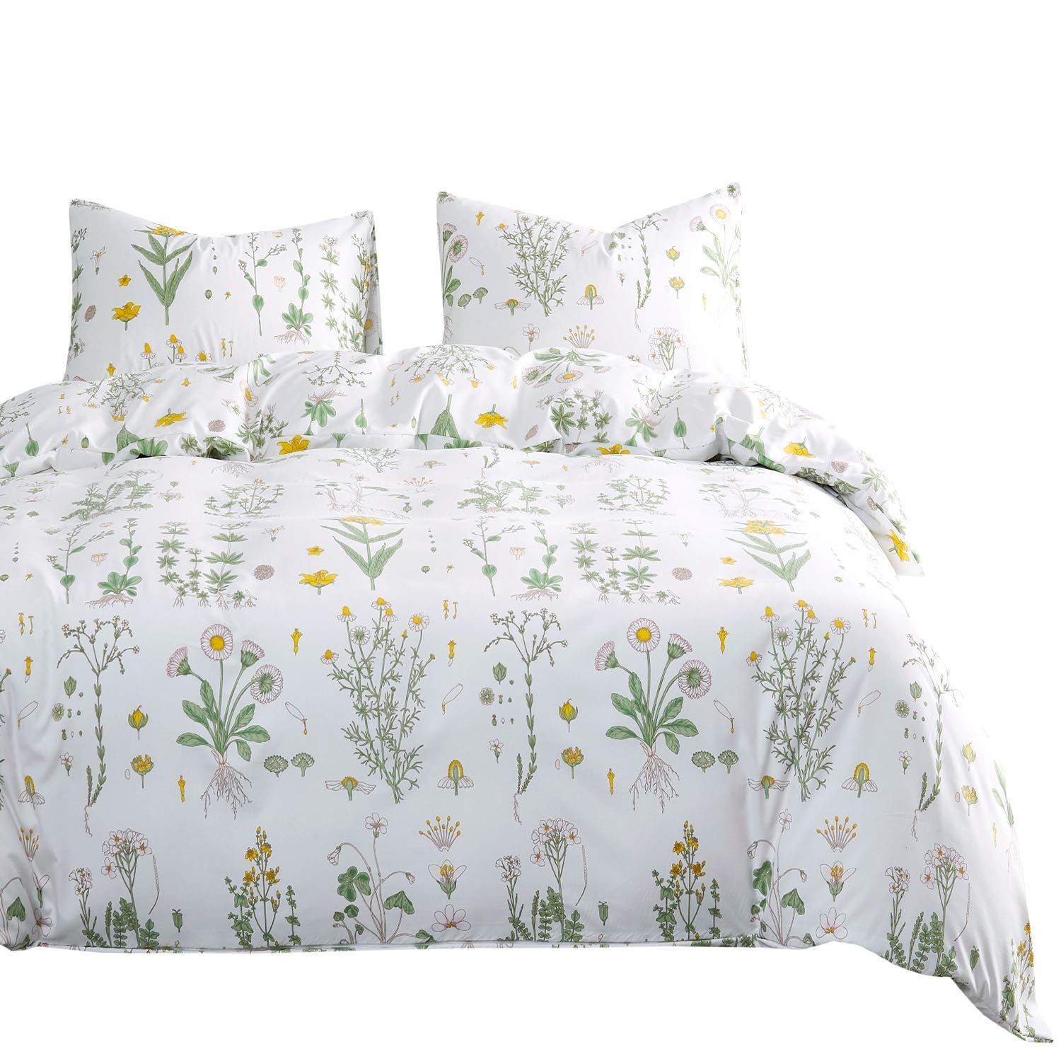 Wake In Cloud - Botanical Comforter Set, Yellow Flowers and Green Leaves Floral Garden Pattern Printed on White, Soft Microfiber Bedding (3pcs, Queen Size)