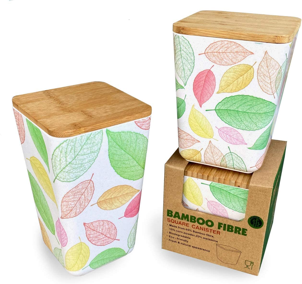Spiceberry Home Bamboo Fiber Kitchen Storage Containers - Set of 3, Choice of Designs (Elm Leaves)