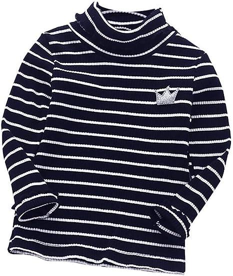 dressin para bebé Niños Bebé Niñas Basic manga larga camisa Tops blusa de rayas camiseta de volantes de cuello alto cuello redondo ropa ropa: Amazon.es: Juguetes y juegos