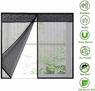 mosquitera mosquitera con cinta autoadhesiva de marco completo negro,120x120cm//47.24x47.24in mosquitera magn/ética para malla de ventana Mosquitera mosquitera