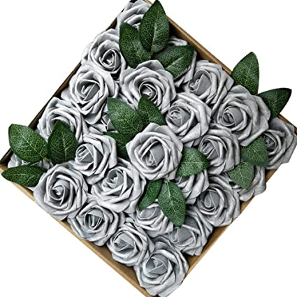 Amazon jing rise 50pcs spray paint fake roses real looking jing rise 50pcs spray paint fake roses real looking artificial flowers for diy wedding bouquets mightylinksfo