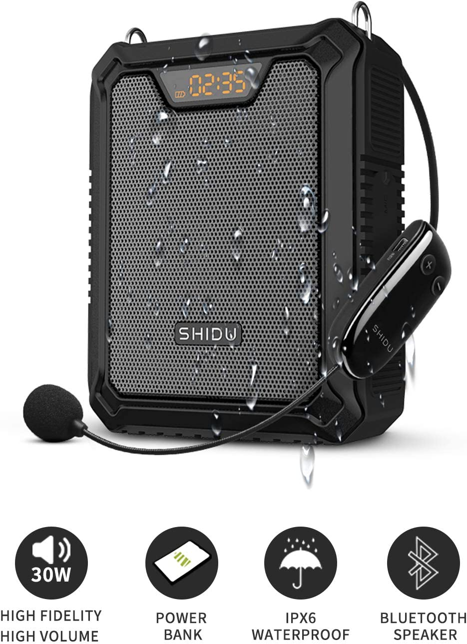 SHIDU 30W UHF IPX6 Bluetooth Amplificador de voz, Amplificador de voz personal con micrófono inalámbrico Auricular Altavoz portátil a prueba de agua Sistema de PA recargable Banco de energía