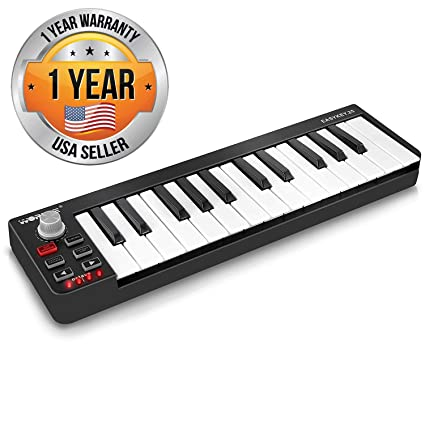Pyle USB MIDI Keyboard Controller - Upgraded 25 Key Portable Audio  Recording Workstation Equipment - Hardware Buttons Control any DAW Software  for