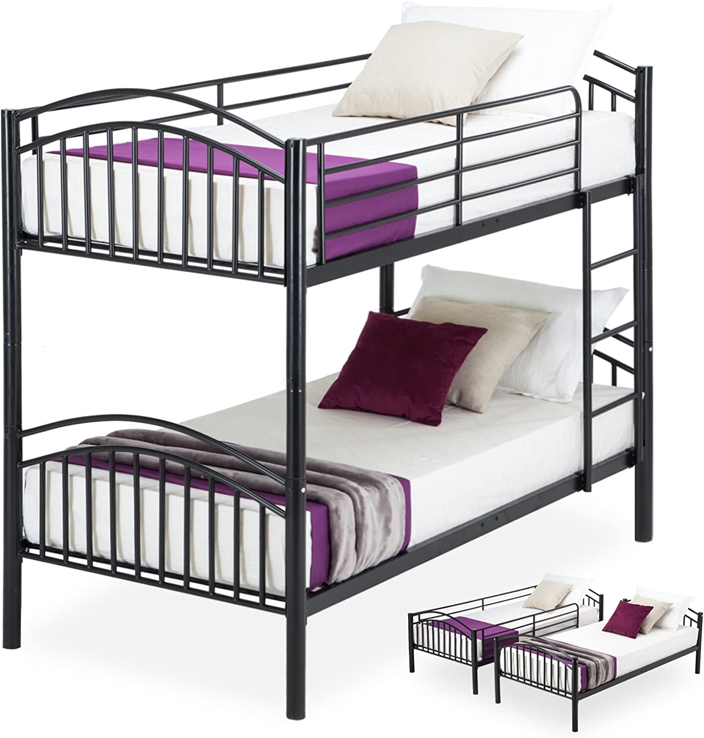 Mecor Metal Bunk Beds Frame 2 X 3ft Single Bunk Bed 2 Person For Kids Teenagers Childrens And Adults Twin Bed Black Amazon Co Uk Kitchen Home