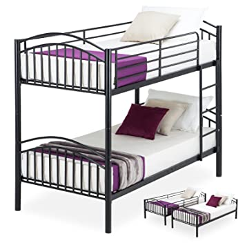 Metal Bunk Beds Frame 2 X 3ft Single Uenjoy 2 Person For Kids Teenagers Childrens And Adults Twin Bed Black