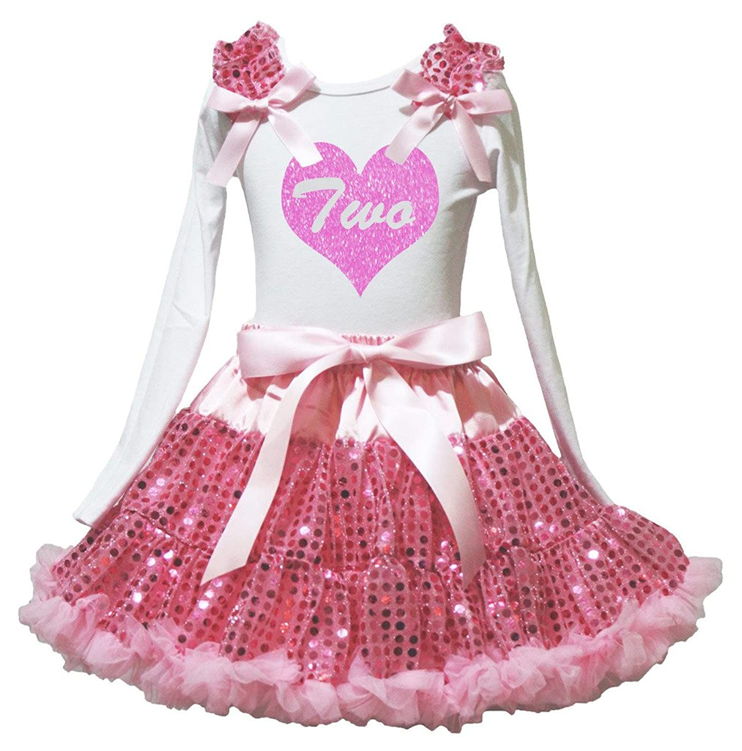 Petitebella Two Heart White L/s Shirt Pink Sequins Skirt Set 1-8y