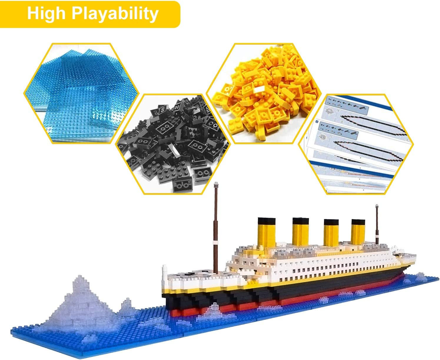 Micro Mini Blocks Titanic Model Building Set with 2 Figure Gift for Adults and Kids 1872 Piece Mini Bricks Toy