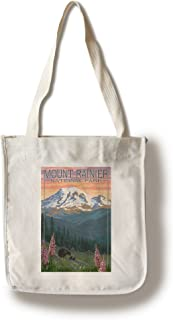 product image for Lantern Press Mount Rainier National Park, Washington - Bear and Cubs with Flowers (100% Cotton Tote Bag - Reusable)