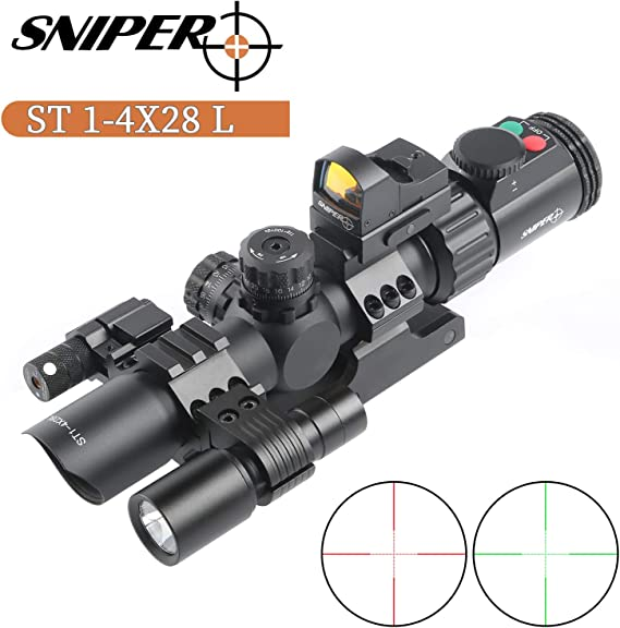 Sniper ST1-4X28L AR Tactical Rifle Scope Combo REDDOT Flashlight RED Laser