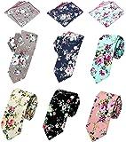 Men's Ties,Cotton Floral Printed Slim Skinny Ties for Men Neckties Pack of 6