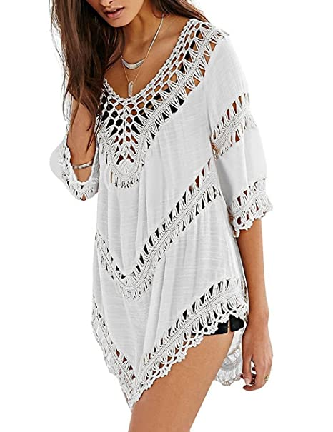 Duraplast Women s Crochet Bathing Suit Cover Up Cotton Beach Shirt White   Amazon.ca  Clothing   Accessories bc916b8fee