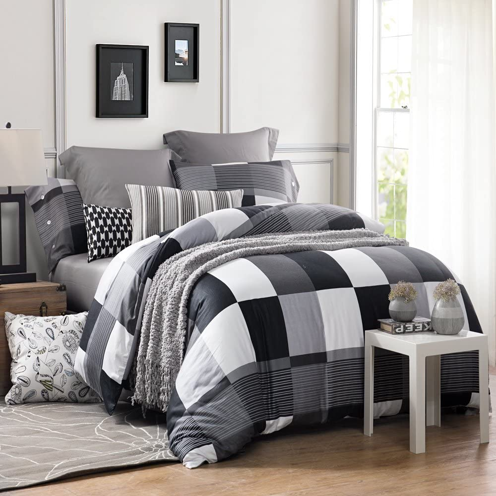 UFO Home 3pc Duvet Cover Set, 250 Thread Count, 100% Cotton Sateen, Inside Ties, Black Plaid, Printing Design, Soft Durable, Full Queen Size(Queen, Black Plaid)