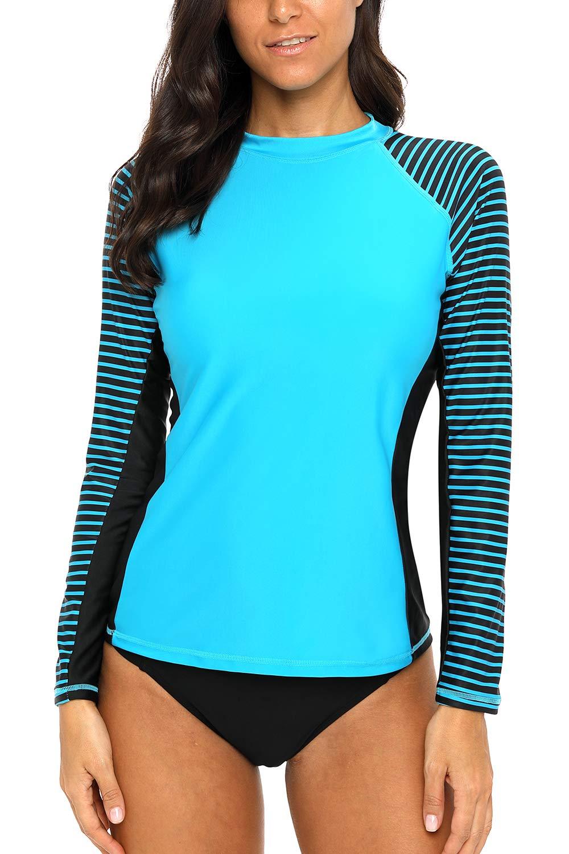 CharmLeaks Rash Guard for Women Long Sleeve uv Swim Shirts Rashguard Swimsuits Swim Tops Large by CharmLeaks