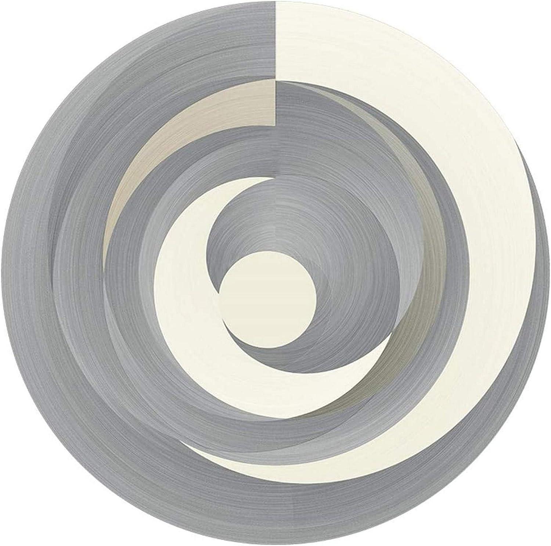 ZJDK Alfombra Grande de Estilo geométrico Moderno con Tacto Suave para Sala de Estar, patrón de diseño de Empalme Gris Crema Amarillo Mostaza, Alfombra Redonda Antideslizante, Alfombrillas para p