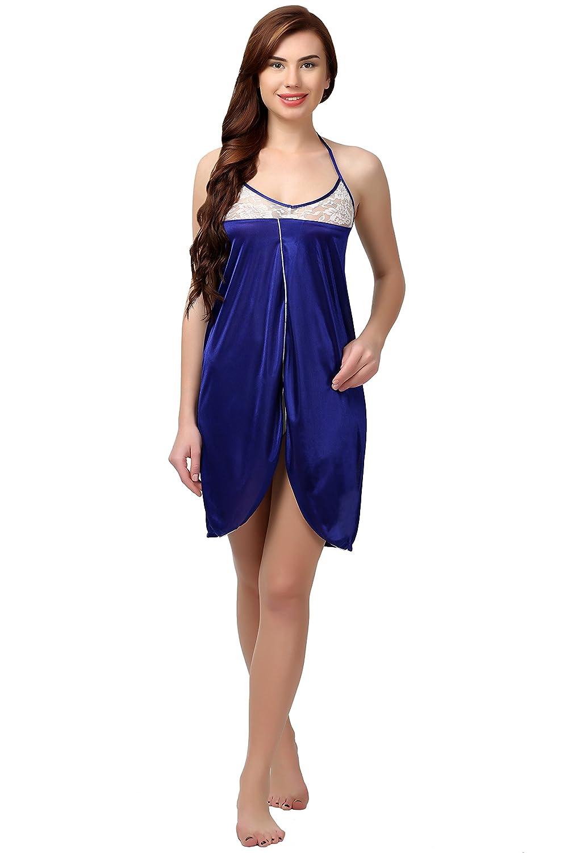 6e7999067 Miavii Women Royal Blue Satin Babydoll Nightdress Nighty  Amazon.in   Clothing   Accessories