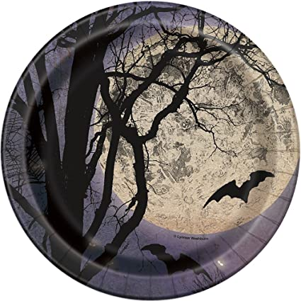 Spooky Night Halloween Paper Cake Plates 8ct  sc 1 st  Amazon.com & Amazon.com: Spooky Night Halloween Paper Cake Plates 8ct: Kitchen ...
