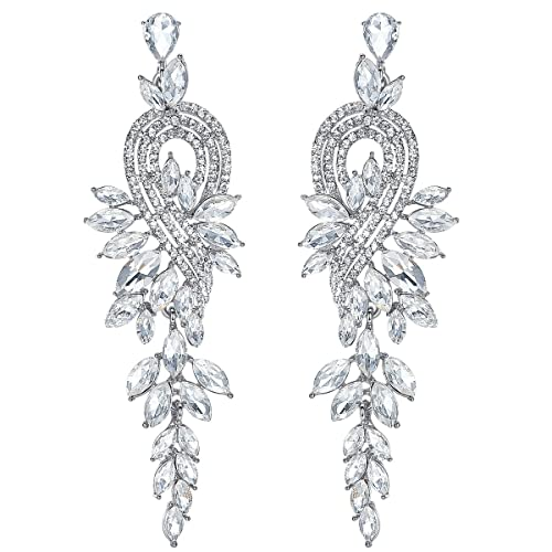 5a328bfa75f2d mecresh Marquise Crystal Bridal Chandelier Dangle Drop Earrings Ladies  Gifts in Silver/Gold Tone