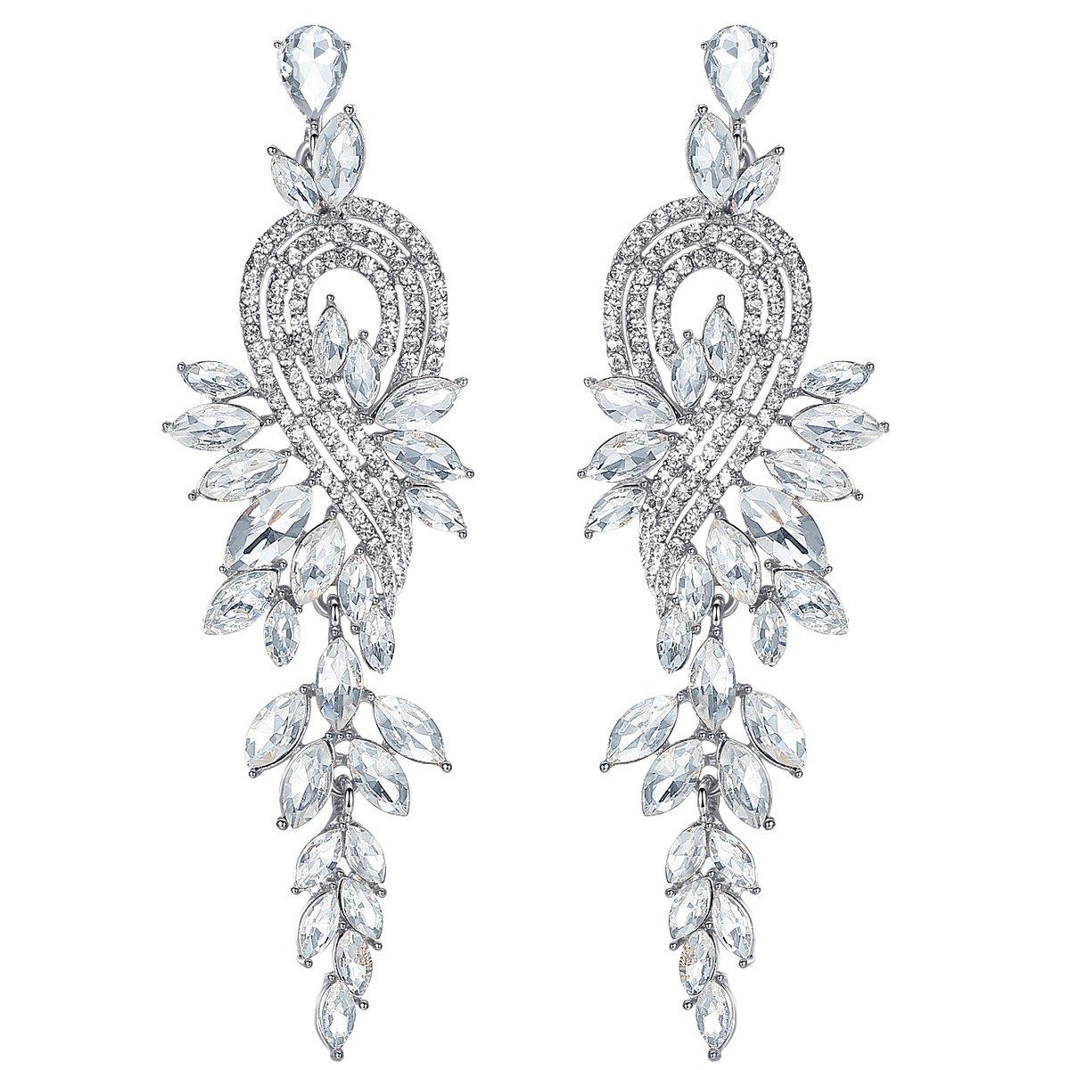 mecresh Silver Long Leaf Crystal Dangle Earrings for Women Bridesmaid Wedding Jewelry Gift