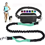 Hands Free Dog Leash for Running Walking Training Hiking, Dual-Handle Reflective Bungee, Poop Bag Dispenser Pouch, Adjustable